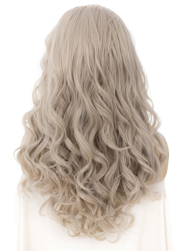 Silver Gray Spiral Curl Synthetic Lace Front Wig IM645031001