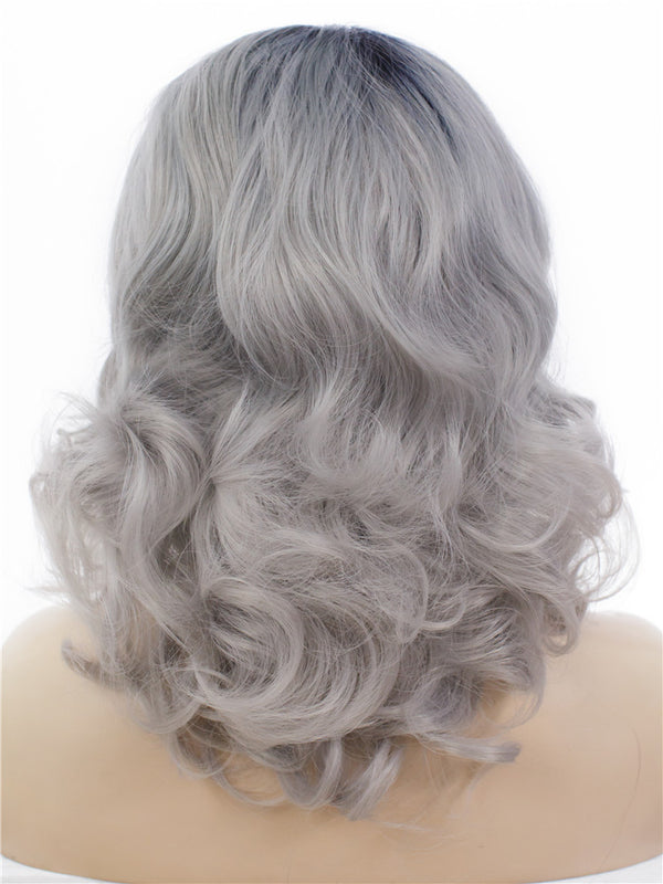 Grey Ombre Short Wavy Glueless Synthetic Lace Front Wigs - Imstylewigs