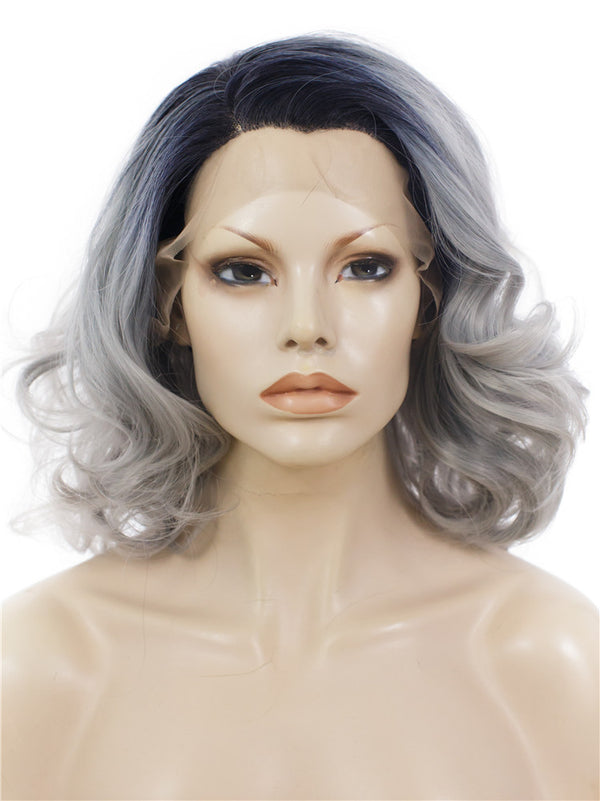 Grey Ombre Short Wavy Cosplay Synthetic Lace Front Wigs - Imstylewigs