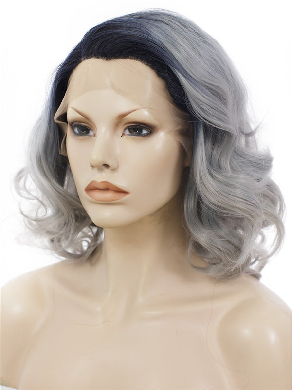 Grey Ombre Short Wavy Glueless Lace Front Wigs - Imstylewigs