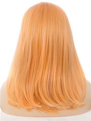 Light Orange Natural Straight Glueless Synthetic Lace Front Wigs - Imstylewigs