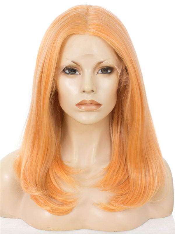 Light Orange Natural Straight Synthetic Lace Front Wigs - Imstylewigs