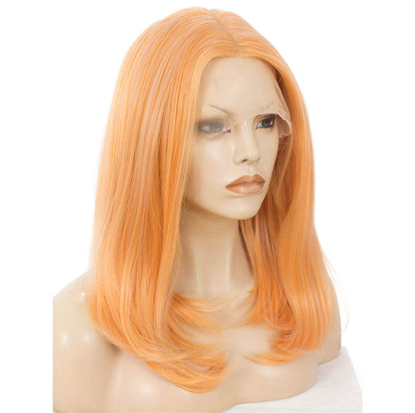 Light Orange Natural Straight Glueless Lace Front Wigs - Imstylewigs