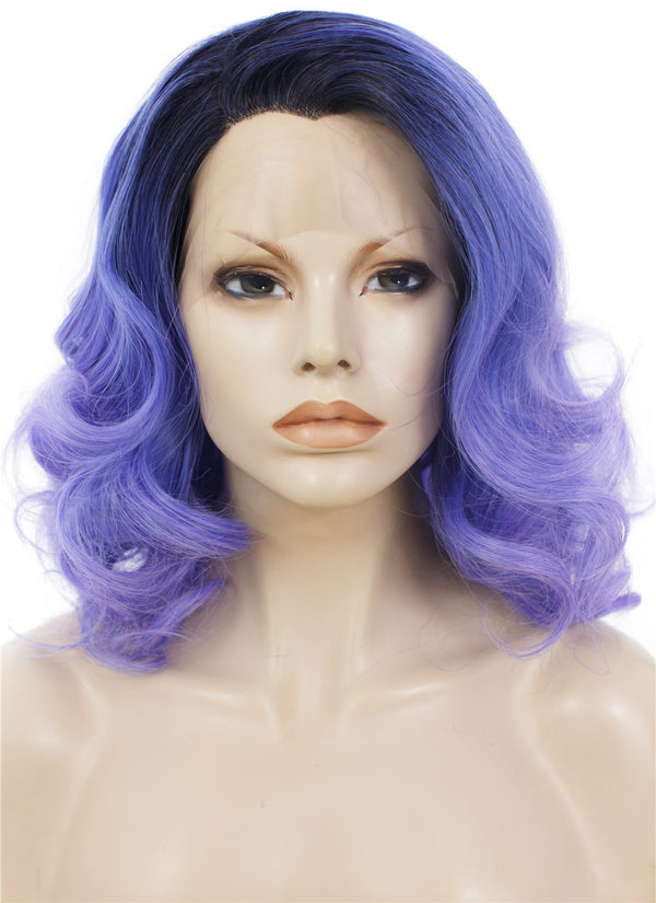 Cosplay Purple Dark Roots Drag Queens Synthetic Lace Front Wigs - Imstylewigs