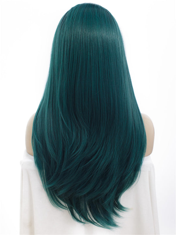 Long Juniper Green Straight Synthetic Glueless Lace Front Wigs - Imstylewigs