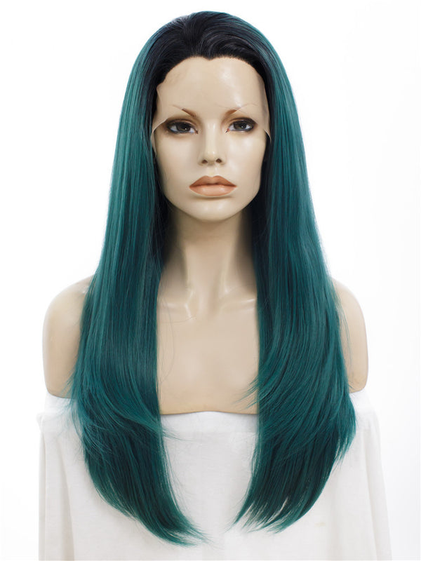Long Juniper Green Straight Synthetic Lace Front Wigs - Imstylewigs