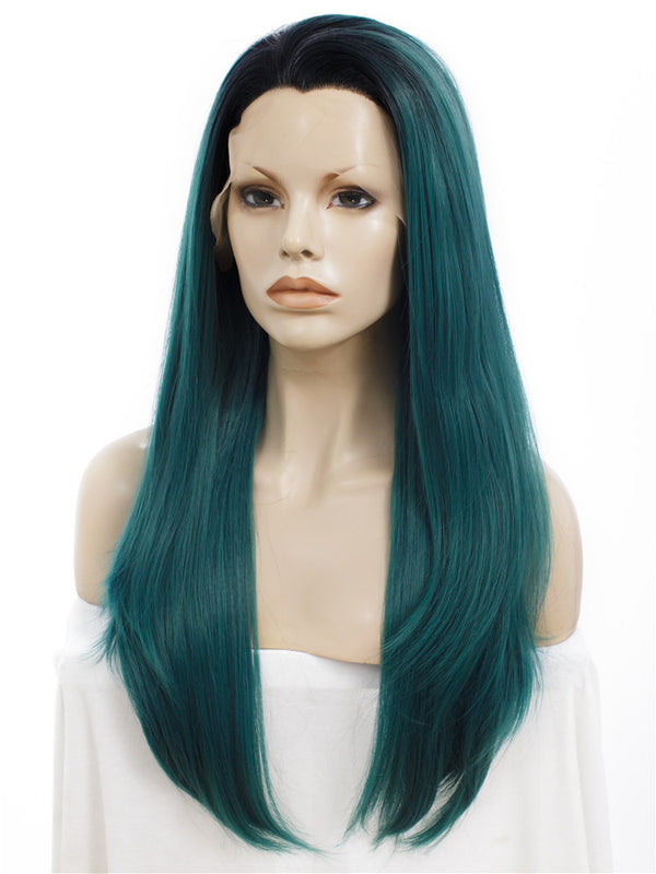 Long Juniper Green Straight Glueless Lace Front Wigs - Imstylewigs