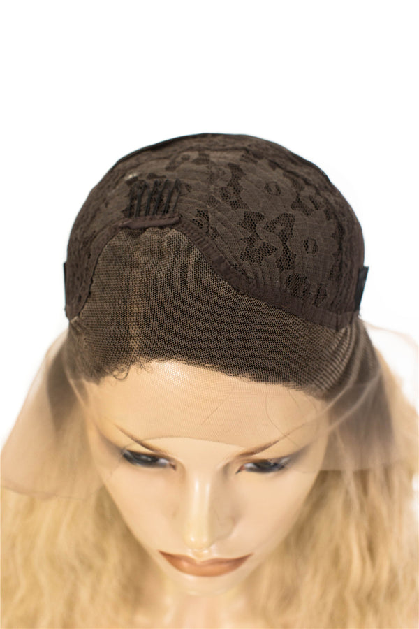Dark Rooted Natural Blonde Glueless Synthetic Lace Front Wigs - Imstylewigs
