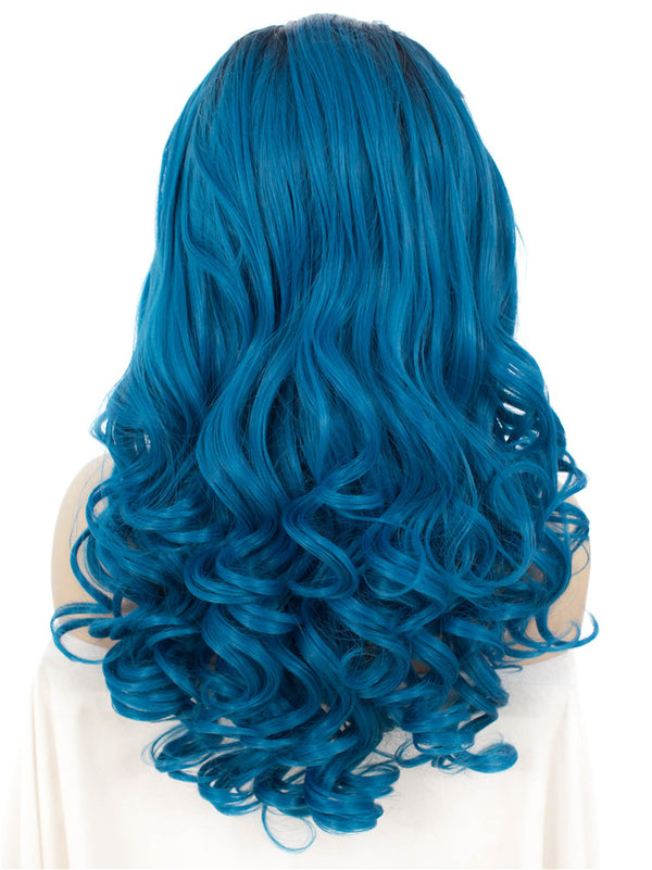 Dark Rooted Blue Ombre Long Wavy Glueless Lace Wigs - Imstylewigs