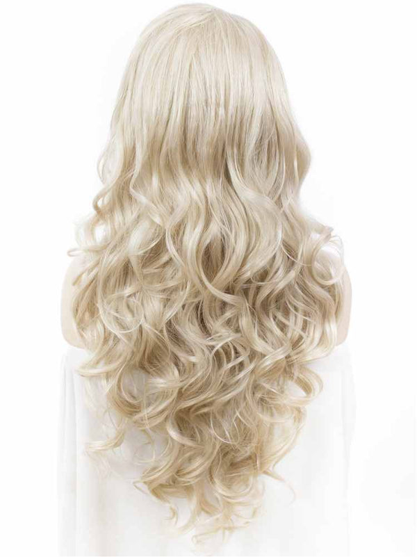 Ash Blond Long Wavy Synthetic Lace Front Wigs - Imstylewigs