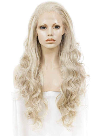 Cosplay Ash Blond Long Wavy Lace Front Wigs - Imstylewigs