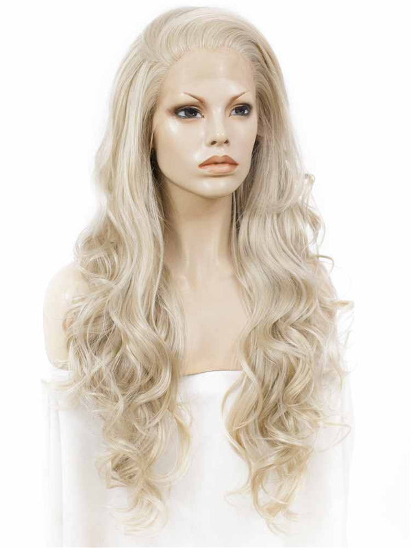 Ash Blond Long Wavy Glueless Synthetic Lace Front Wigs - Imstylewigs