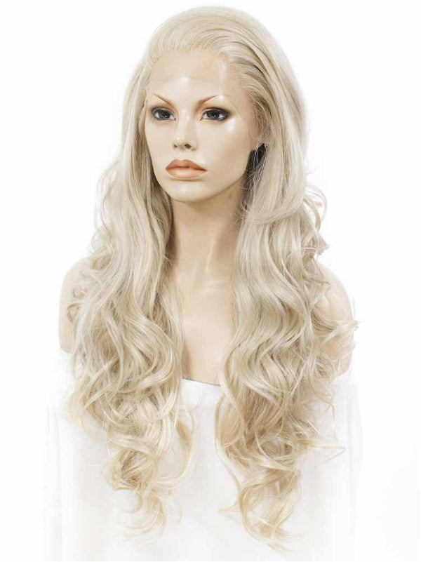 Long Ash Blonde Loose Wavy Synthetic Lace Front Wigs - Imstylewigs