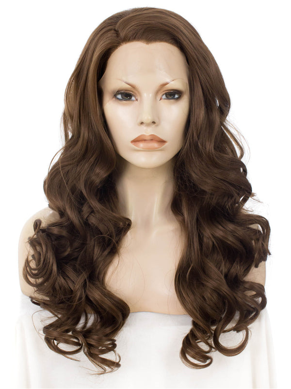 Golden Brown Loose Wavy Synthetic Lace Front Wigs - Imstylewigs