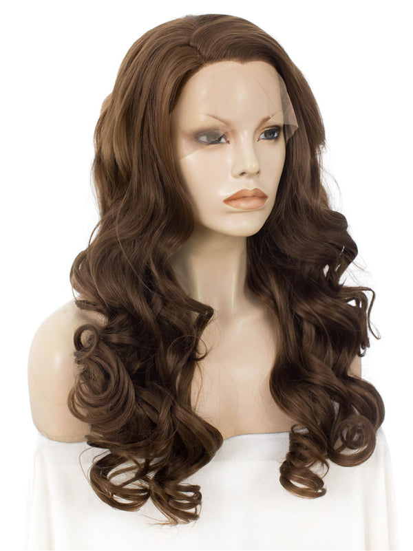 Golden Brown Loose Wavy Synthetic Glueless Lace Front Wigs - Imstylewigs