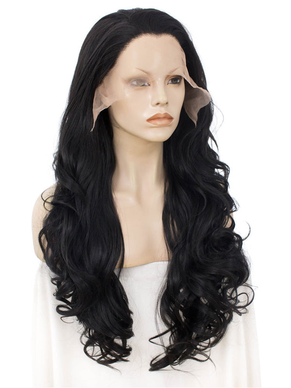 Long Black Natural Wavy Synthetic Lace Front Wigs - Imstylewigs