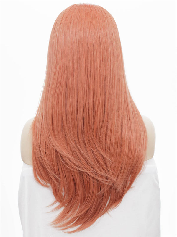 Long Straight Rose Golden Pink Synthetic Glueless Lace Front Wigs - Imstylewigs
