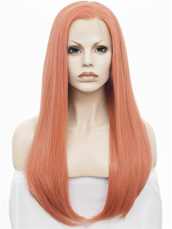 Rose Golden Pink Glueless Straight Lace Front Wigs - Imstylewigs