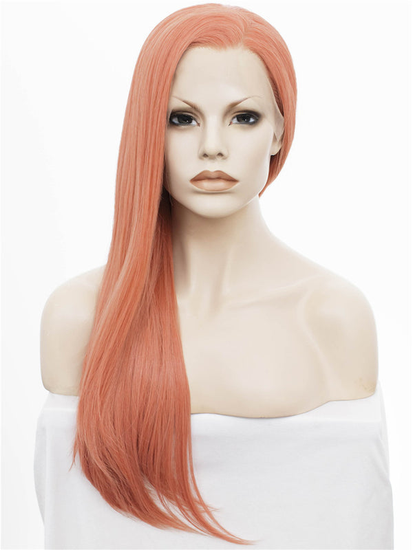 Rose Golden Pink Synthetic Glueless Lace Front Wigs - Imstylewigs