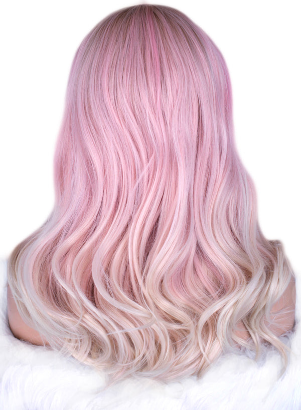 Dreamy Pink Natural Wavy Synthetic Glueless Lace Front Wigs - Imstylewigs