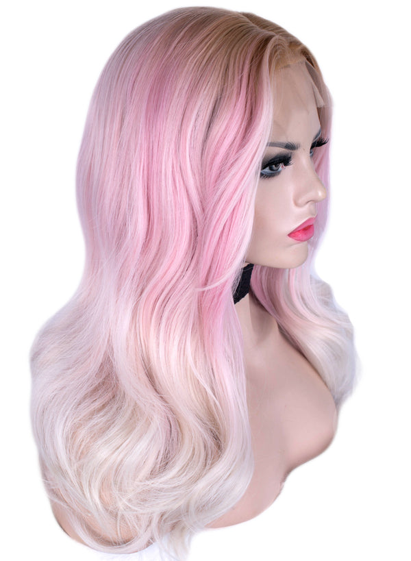 Dreamy Pink Natural Wavy Glueless Lace Front Wigs - Imstylewigs