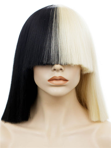 Diva - Half Black & Half White Straight Bob Synthetic Wig With Bangs