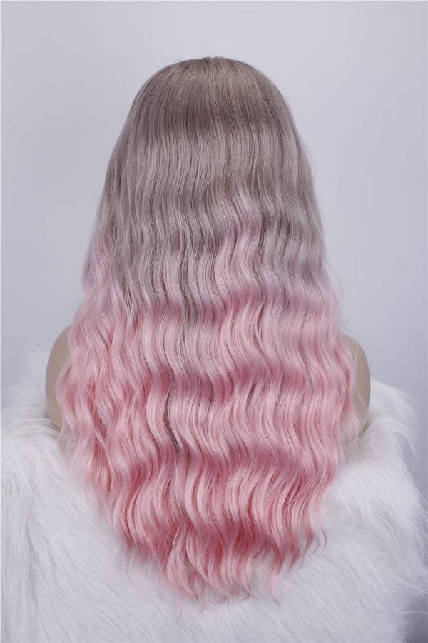 Long Wavy Ombre Cherry Pink Glueless Synthetic Lace Front Wigs - Imstylewigs