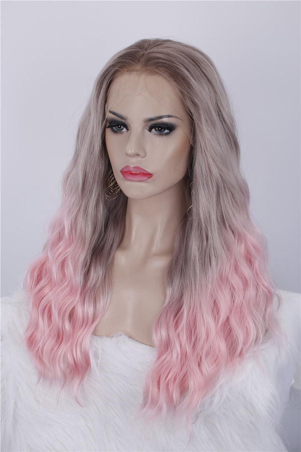 Natural Wavy Ombre Cherry Pink Glueless Synthetic Lace Front Wigs - Imstylewigs