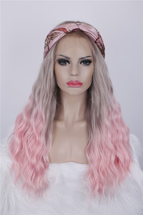 Natural Wavy Ombre Cherry Pink Synthetic Lace Front Wigs - Imstylewigs
