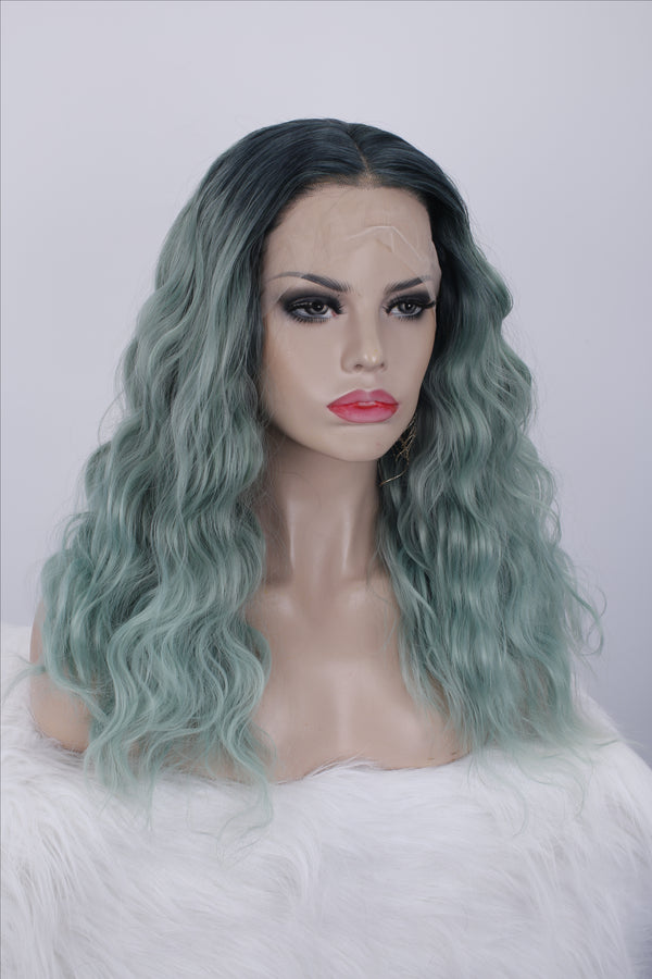 Ombre Green Curly Synthetic Lace Front Wigs - Imstylewigs
