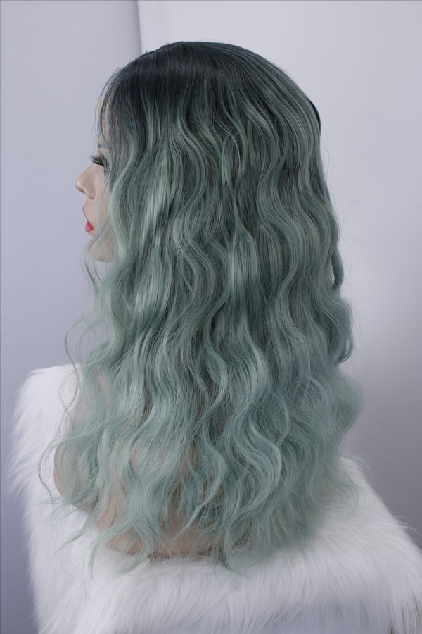 Long Curly Ombre Green Glueless Synthetic Lace Front Wigs - Imstylewigs