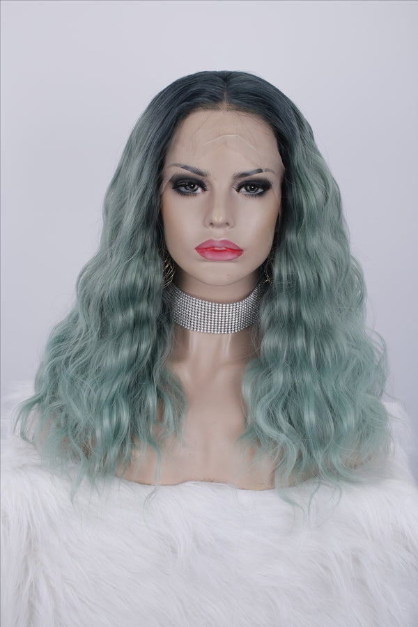 Ombre Green Curly Glueless Lace Front Wigs - Imstylewigs