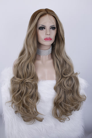 Fashion Brown Balayage Long Wavy Synthetic Lace Wig IMNH6