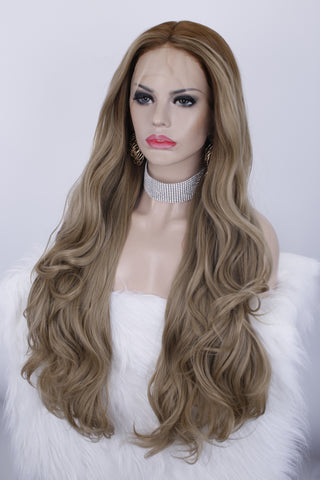 Ash Brown Natural Wavy Synthetic Lace Front Wigs - Imstylewigs