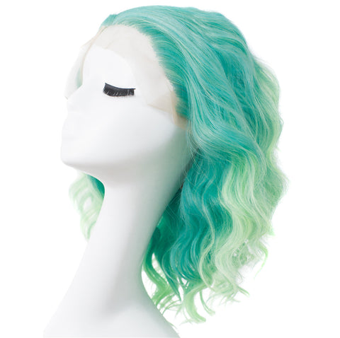 Short Wavy Ombre Green Synthetic Lace Front Wigs - Imstylewigs