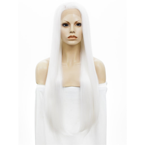 Imstyle Natural Pearl White Silk Straight Synthetic Lace Front wigs for drag queen cosplay