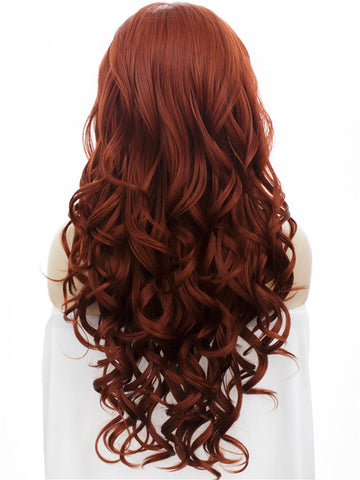 Long Bouncy Curly Auburn Color Glueless Synthetic Lace Front Wigs - Imstylewigs