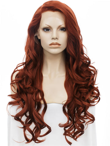 Long Bouncy Curly Auburn Color Synthetic Lace Front Wigs - Imstylewigs