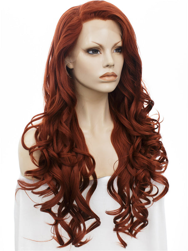 Long Bouncy Curly Auburn Color Glueless Lace Front Wigs - Imstylewigs