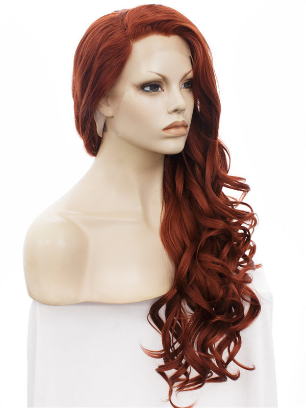 Long Bouncy Curly Auburn Color Lace Front Wigs - Imstylewigs