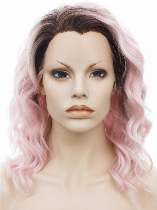 Sakura Pink Short Loose Curly Synthetic Glueless Lace Front Wigs - Imstylewigs