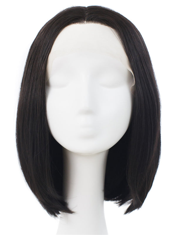 Natural Black Short Straight Glueless Lace Front Wigs - Imstylewigs