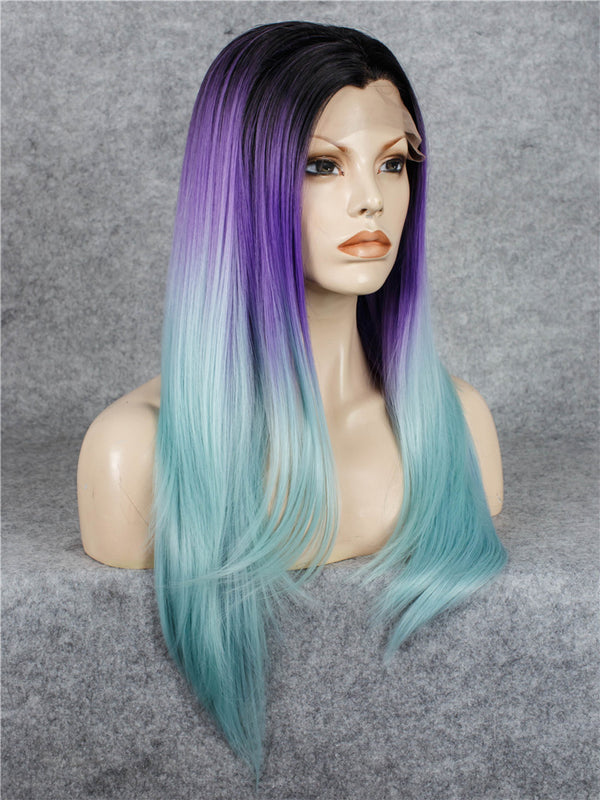 Ombre Purple Glueless Synthetic Lace Front Wigs - Imstylewigs