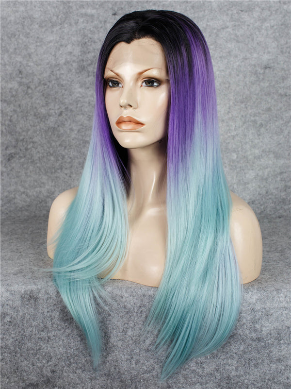 Long Straight Ombre Purple Synthetic Lace Front Wigs - Imstylewigs