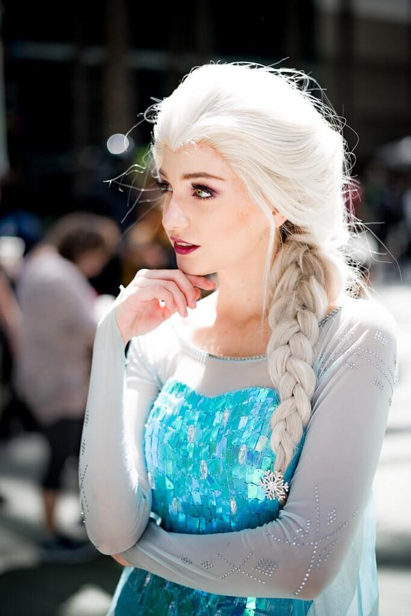 Queen Elsa Cosplay Ash Blond Long Wavy Lace Front Wigs - Imstylewigs