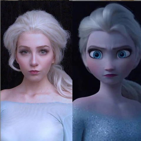 Princess Elsa Ash Blonde Synthetic Glueless Lace Front Wigs - Imstylewigs