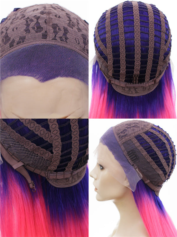 Rock Purple Pink Ombre Glueless Lace Front Wigs - Imstylewigs