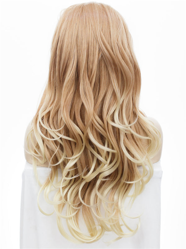 Honey Blond Long Wavy Synthetic Glueless Lace Front Wigs - Imstylewigs