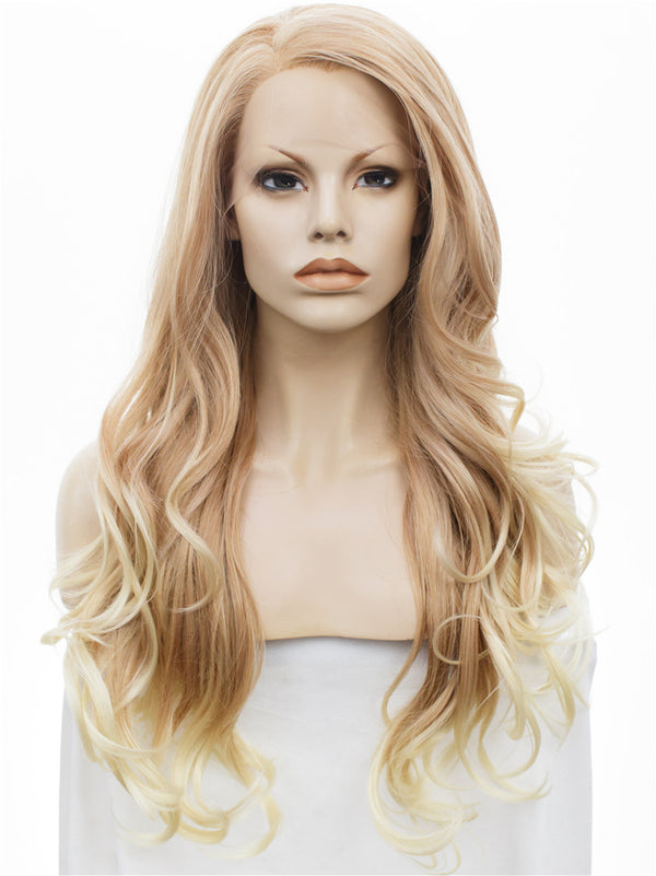 Honey Blond Wavy Synthetic Lace Front Wigs - Imstylewigs