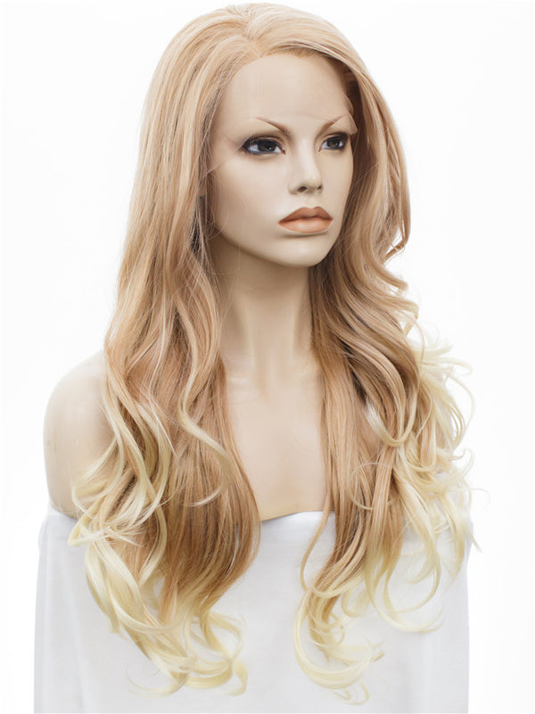 Honey Blond Wavy Synthetic Glueless Lace Front Wigs - Imstylewigs